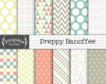 Preppy Digital Paper, Digital Scrapbook Paper, Background, Chevrons, Polka Dots, Commercial Use, Instant Download
