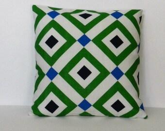 """Geometric pillow cover, Jonathan Adler for Kravet Home Dec Screen Print, Blue, Green and White, linen like slub,  18"""" x 18 sofa, chair, bed"""