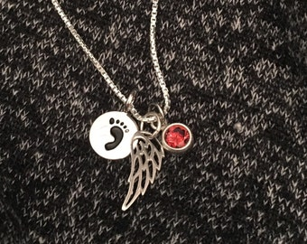 Angel Wing Birthstone Memorial Necklace - Angel Gift - Memorial Gift -