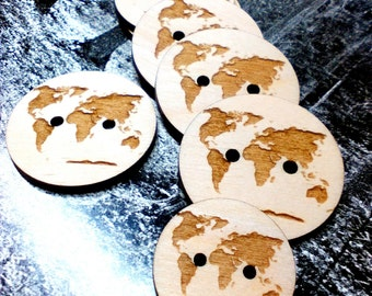 World map engraved, Wood Buttons, Engraved Buttons, Wooden Buttons, Crochet Button, Knitting Buttons, Craft Buttons, Tree Buttons, Wood work