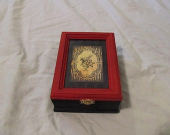 Alice In Wonderland ~ The White Rabbit ~ Wood and Glass Keepsake Jewelry Box