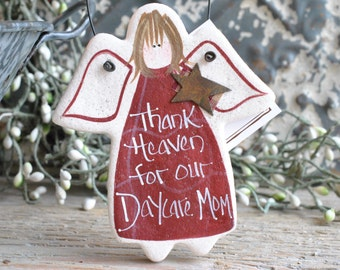 Thank Heaven for Our Daycare Mom Salt Dough Gift Ornament