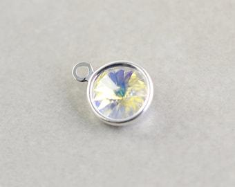 Sterling Silver Crystal Charm, Silver Crystal Disc, Swarovski Crystal, One