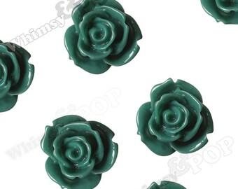 10 - Large Vintage Forest Green Multi-Petal Rose Cabochons, Flower Cabochons, Flower Cabs, 19mm Roses (C1-36)