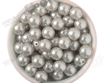 16mm - Pearl Metallic Silver Gumball Beads, Chunky Pearl Beads, 16mm Pearl Beads, Pearl Gumball Beads, Bubble Gum Beads, 2MM Hole