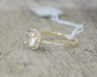 0.8 carat light yellow sapphire, yellow gold, diamonds halo engagement ring 308W