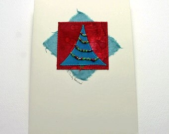 Greeting Card, Holiday Tree, Fiber Art, Red Turquoise Beaded