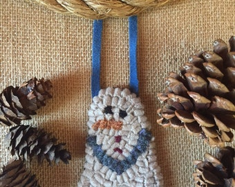 Free Shipping to USA - Handmade Hooked Rug Snowman Ornament with Blue Arms, Blue Hanger, and Buttons