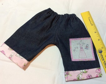 """Waldorf doll clothes, girly jeans for 14-16"""""""