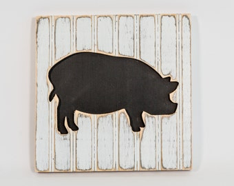Pig Wall Art, Wooden Distressed Antique Bead Board, Farm to Table, Farm Fresh, Modern Country