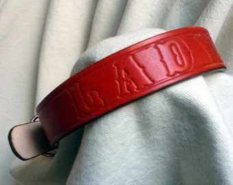 "Personalized dog collar, L, 1"" wide, full grain leather"