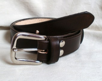 Men leather belt, womens belt, 30mm wide, full grain leather, steel westend buckle