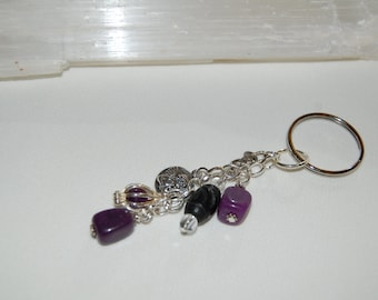 Amethyst Keychain Gemstone Keychain Angel Keychain Yoga Charm Boho Bag Charm Energy Amulet Good Luck Gift