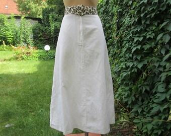 Linen Skirt / White Linen Skirt / Long Linen Skirt / Cotton Skirt / Skirt Vintage / A Line Skirt Size EUR44 / UK16