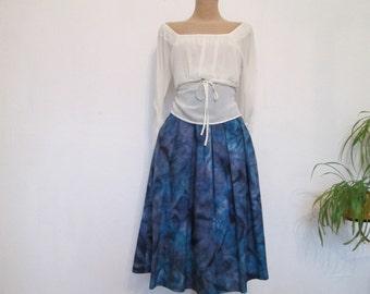 Silk Skirt / Skirt Vintage / Full Silk Skirt / Hand Painted Fabric / Side Pockets / Size EUR 38 / 40 X UK10 / 12