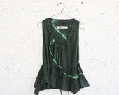Final Summer Sale Summer Sale ,Green Tie-Dye Ruffle Shirt