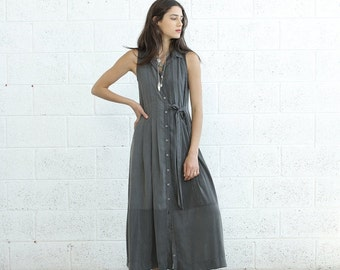Summer SALE SALE Pleated Maxi Dress With Tie front