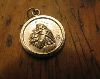 Old with PATINA St. Anthony pendant / charm pewter tone