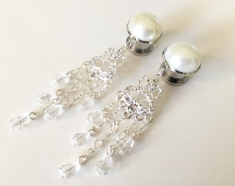 "1/2"" Beaded Chandelier Plugs Pearl Bridal Dangle Plugs 9/16 inch Gauges 000g 7/16 Formal Wedding Dangly Ear Plugs 11mm 12mm 14mm"
