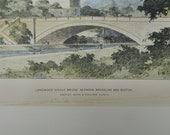 Longwood Avenue Bridge, Brookline, Boston, Massachusetts, 1896, Shepley, Rutan & Coolidge, Architects. Hand Colored, Original Plan