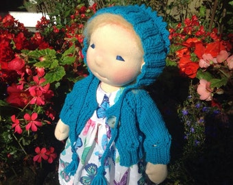 "Gorgeous cardigan and bonnet for Waldorf Doll 16"" - 18"""