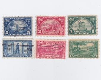 1924 Huguenot-Walloon And 1925 Lexington-Concord Issue Used US Postage Stamps