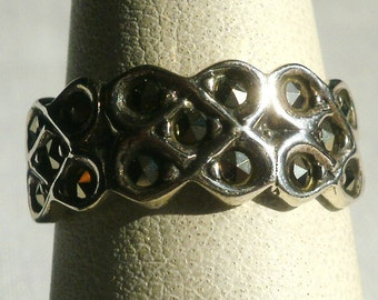Sterling Silver Marcasite Ring-Size 6 3/4