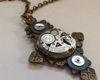 Steampunk Womens Mens Necklace Vintage Watch Pendant