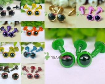 12mm Safety Eyes Plastic Doll Eyes - Clear / Yellow / Golden / Pink / Purple / Orange / Grass Green / Blue / Green / Brown / Red Brown