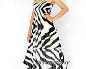 Black White Striped Maxi Dress Long Dress Beach Party Summer Sundress Graduation
