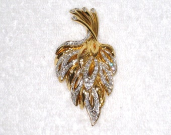 """NOLAN MILLER Pavé Crystals Brooch, Gold Tone Setting / 2 7/8"""" X 1 1/2"""" / Signed, Mint Condition / Free Us Shipping"""