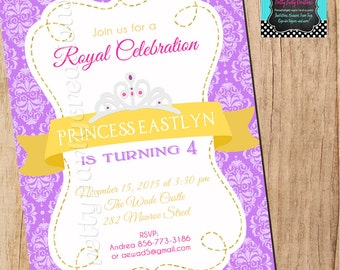 ROYAL PRINCESS purple and gold invitation - YOU Print - birthday or baby shower