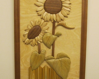 SUNFLOWERS TWO 16, realistic Intarsia carved flowers by Rakowoods.  Great purchase for home, cabin wall decor, birthdays,mothers & fathers