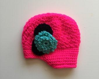 Crochet Flower Beanie 0-6 MONTHS
