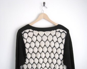 Black and Cream Knit Sweater. Polka Dot Sweater Jumper. Long Sleeves Boatneck Sweater. Geometric Pattern Knitted. 1980s Sweater Women.