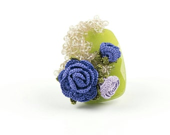 Rings-Green Agate Gemstone Ring, Handmade Crochet Purple Rose Bell Flower Bohemian Statement Adjustable Ring, Floral Jewelry, Nature Jewelry