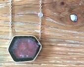 SALE Watermelon Tourmaline Necklace - Watermelon Tourmaline Slice-Artisan Jewelry-Tourmaline Jewelry-Unique Necklace-Fine Jewelry-BSK Design