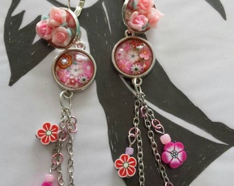 Sale was 14 now 11uk Silvertone Pink Cabochon Dangels with Faux Milli Fiori and Fimo Flower earrings.