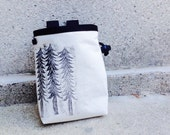 TRIO..  handcarved, blockprinted, rock climbing chalk bag..ready to ship.