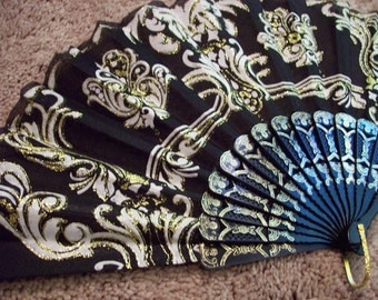Vintage black and gold fan Gothic Steampunk hot flash photo prop display lady death asian spanish fan