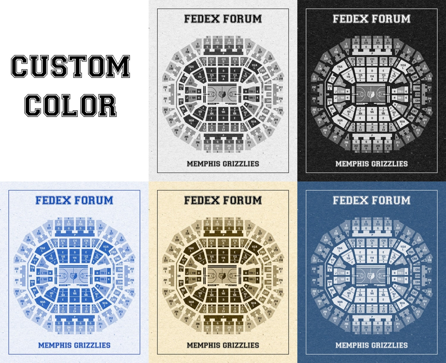 Vintage Print Of Fedex Forum Seating Chart On Premium Photo Luster Paper Heavy Matte Or Stretched Canvas Free Shipping