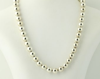 """Sterling Silver Beaded Necklace 18"""" - Sterling Silver Spring Ring Clasp Women's Q5252"""