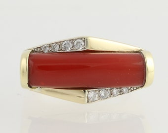 Coral and Diamond Ring - 18k Yellow & White Gold Genuine .14ctw L7651