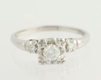 Vintage Engagement Ring - 14k White Gold 3-Stone Solitaire Accents Round 0.36ctw Unique Engagement Ring L9873