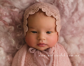Newborn Pink Lace Bonnet-Newborn Photography Prop-Baby Lace and Fabric Jersey Hat-Photo Prop Baby Hat-Newborn Fabric Bonnet-Baby Props