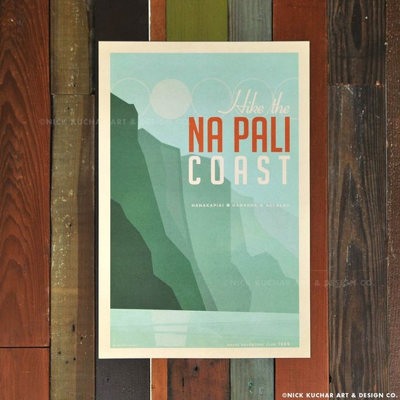 Hike the Na Pali Coast - 12x18 Retro Hawaii Print