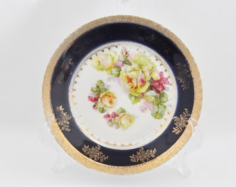 Vintage Decorative Plate - Cobalt Blue - Floral - Gold Trim - Set of two - Made in Germany -