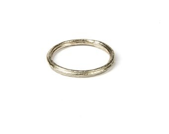 9ct white gold ridged wedding band, rustic wedding ring, stacking gold rings, white gold wedding band, simple gold ring