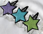 Set of 3 Glitter Star Hair Clips - Star Hair Clips - Glitter Hair Clip