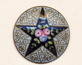 Antique Enamel Button - Star Pattern With Flowers - ca. 1890's
